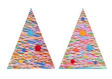 Árbol del Año Nuevo del diseño del vintage, plano Imagenes de archivo