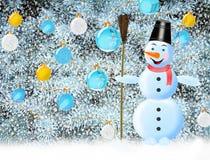 Árbol del Año Nuevo del muñeco de nieve con las decoraciones del árbol del Nuevo-año Imágenes de archivo libres de regalías