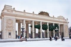 Árbol del Año Nuevo en el parque Moscú de Gorki Flor en la nieve Imagen de archivo libre de regalías