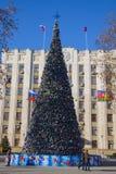 Árbol del Año Nuevo en Krasnodar Fotografía de archivo