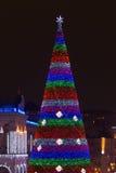 Árbol del Año Nuevo en la noche en Kyiv Imagen de archivo