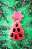 Árbol del Año Nuevo hecho de la sandía con las semillas La Navidad del Año Nuevo Imagen de archivo
