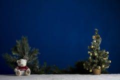 Árbol del Año Nuevo y cachorro de oso en la arena blanca y el fondo azul Imagenes de archivo