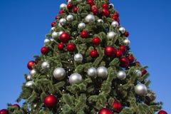 Árbol del Año Nuevo y cielo azul Imagen de archivo libre de regalías