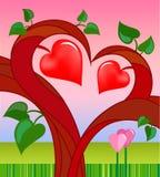 Árbol del amor con dos corazones Foto de archivo