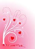 Árbol del amor en color de rosa Fotos de archivo
