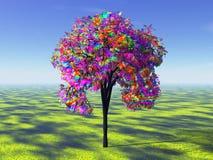 Árbol del arco iris Stock de ilustración