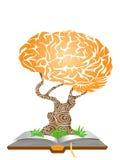 Árbol del cerebro en el libro ilustración del vector