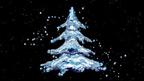 Árbol del chapoteo del agua de la Navidad en fondo negro libre illustration