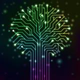 Árbol del circuito con las luces de neón multicoloras Foto de archivo libre de regalías