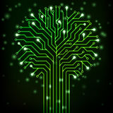 Árbol del circuito con las luces de neón verdes Fotografía de archivo