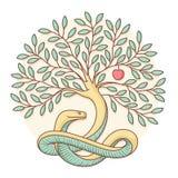 Árbol del conocimiento del el bien y el mal con la serpiente y la manzana Diseño colorido Ilustración del vector libre illustration