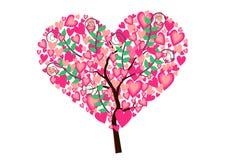 Árbol del corazón aislado Imagenes de archivo