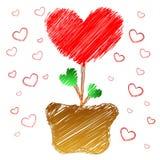 Árbol del corazón en estilo del doodle stock de ilustración