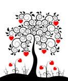 Árbol del corazón y flores del corazón Imagen de archivo libre de regalías