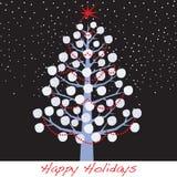 Árbol del día de fiesta de la Navidad de la bola de nieve stock de ilustración