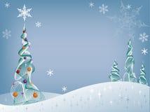 Árbol del día de fiesta en la nieve Imagen de archivo libre de regalías