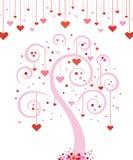 Árbol del día de tarjeta del día de San Valentín Imagenes de archivo