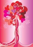 Árbol del día de tarjeta del día de San Valentín ilustración del vector