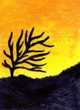 Árbol del desierto de la pintura al óleo Foto de archivo libre de regalías
