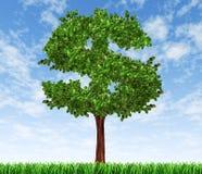 Árbol del dinero con el crecimiento co de la inversión del cielo y de la hierba ilustración del vector
