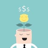Árbol del dinero que crece de beneficio de la cabeza del hombre de negocios Imagen de archivo libre de regalías