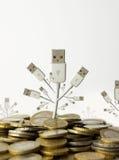 Árbol del dinero y del usb Imagen de archivo