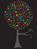 Árbol del estallido de las notas musicales del color stock de ilustración