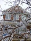 Árbol del hielo con la casa Foto de archivo
