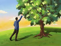 Árbol del hombre de negocios y del dinero ilustración del vector
