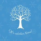 Árbol del invierno con los copos de nieve Imagen de archivo