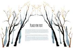 Árbol del invierno de la acuarela Imagen de archivo libre de regalías