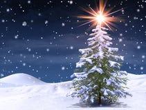 Árbol del invierno en una noche que nieva fría de la Navidad mágica ilustración del vector