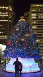 Árbol del mercado de la Navidad de Philadelphia Foto de archivo libre de regalías