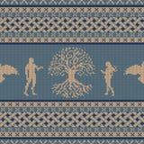 Árbol del mundo, primera gente y cuervo que vuela Ornamento nacional céltico inconsútil hecho punto ilustración del vector