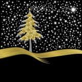 Árbol del oro de la tarjeta de Navidad adornado con la flor de lis de oro Foto de archivo libre de regalías