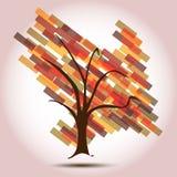 Árbol del otoño con la flecha abajo del asunto de disminución Imágenes de archivo libres de regalías
