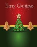 Árbol del pan de jengibre de la tarjeta de Navidad Fotografía de archivo