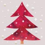 Árbol del rojo de la Navidad del batik Foto de archivo libre de regalías