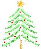 Árbol del saludo de la Navidad ilustración del vector