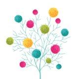 Árbol del vector con Pom Poms Decorative Element colorido Grande para el sitio del cuarto de niños, tarjetas hechas a mano, invit Fotografía de archivo libre de regalías