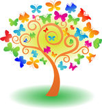 Árbol del vector de la mariposa ilustración del vector
