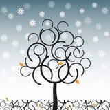 Árbol del vector en invierno stock de ilustración