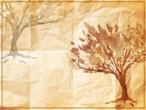 Árbol del vector pintado en el papel arrugado viejo Foto de archivo