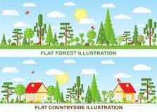 Árbol del vector y ejemplo planos de la casa Foto de archivo libre de regalías