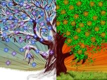 Árbol del verano del invierno stock de ilustración