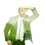 Árbol del verde de la exposición doble del hombre de negocios Imagen de archivo libre de regalías