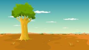 Árbol dentro del paisaje llano amplio Fotografía de archivo