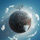 Árbol desnudo en el pequeño planeta Foto de archivo