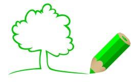 Árbol drenado por un lápiz Imagen de archivo libre de regalías